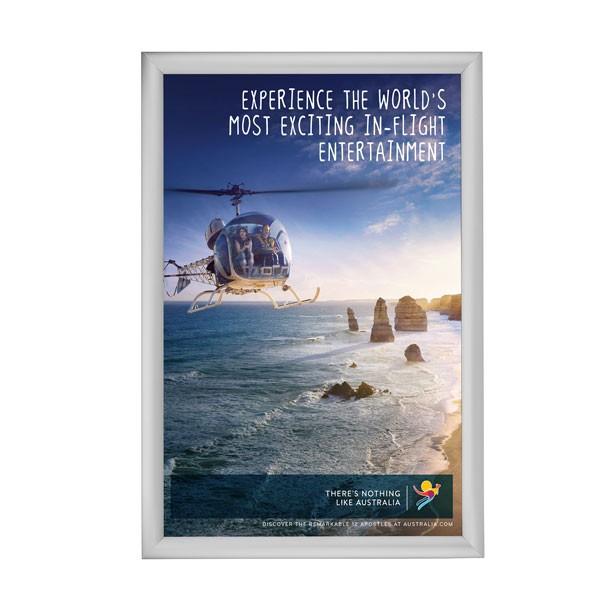 "Snap Frame 27'' X 40''  Poster Size 1.77"" Silver Color Profile, Mitered Corner"
