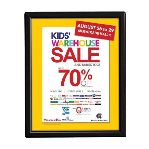 "8'' X 10''  Poster Size 0.55"" Black Color Profile, Safety Corner, Without Back Support"