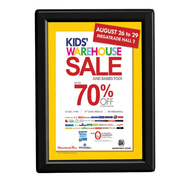 """5'' X 7''  Poster Size 0.55"""" Black Color Profile, Safety Corner, Without Back Support"""