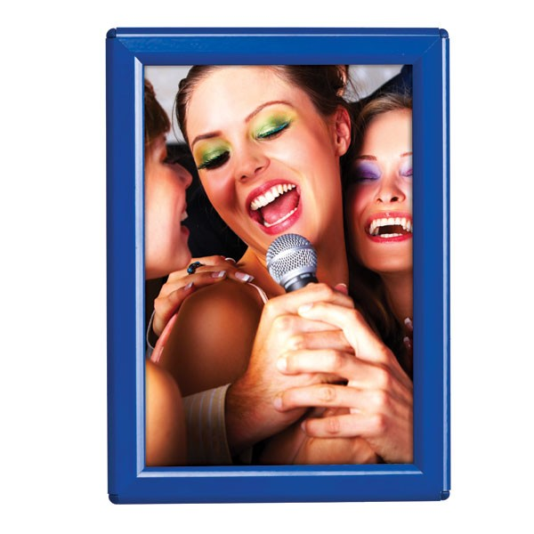"""5'' X 7'' Poster Size 0.55"""" Blue (RAL 5002) Profile, Safety Corner, With Back Support"""