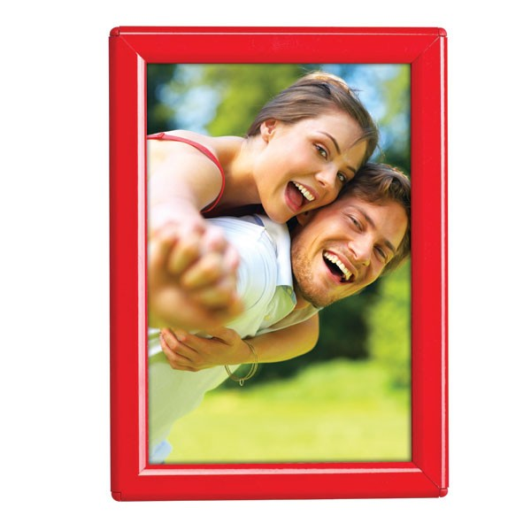 """5'' X 7'' Poster Size 0.55"""" Red (RAL 3020) Profile, Safety Corner, With Back Support"""