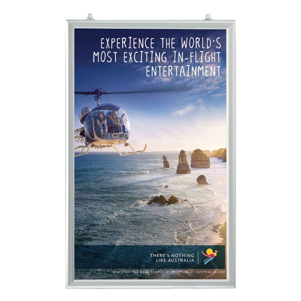 "Slide In Frame 24'' X 36'' Poster Size 1"" Silver Color Profile, Mitered Corner, Double Sided"