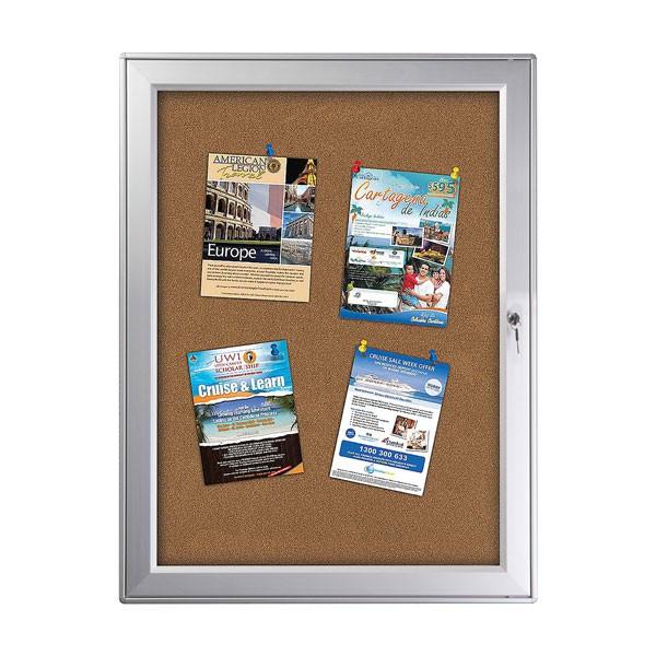 "enclose bulletin board 9 x (8.5"" x 11"") Paper Area Silver Aluminum, outdoor"
