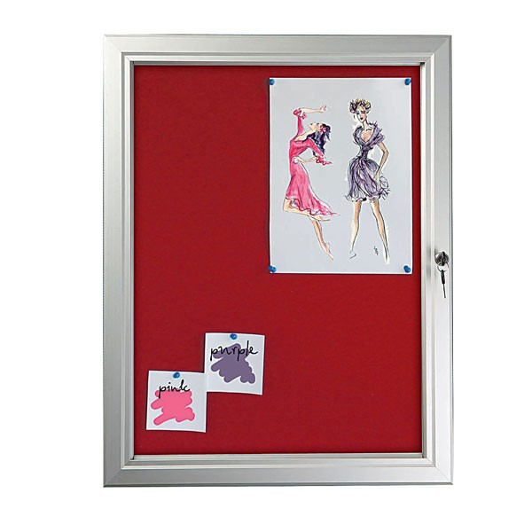 "Red Felt  4 x (8.5"" x 11"") Capacity Silver Aluminum Frame, Single Key Weatherproof"