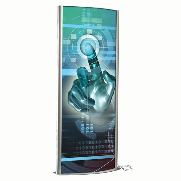 """Kiosk 27""""w x 67""""h Poster Size Silver, Double Sided, With Light, Snap Open Poster Change"""
