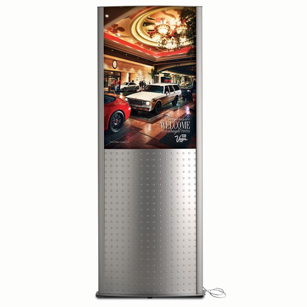 """Decorative Kiosk 24""""w x 36""""h Poster Size Silver, Double Sided, With poster panel"""