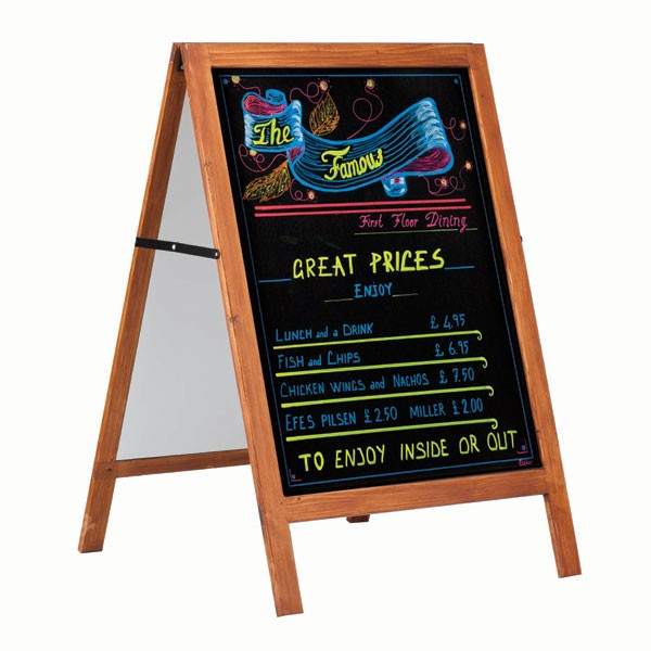 "Wooden A-frame with Black Chalk Board 23-3/5"" x 31-1/2"" Writeable Area"