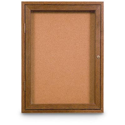 "24 x 36"" Single Door Standard Indoor Wood Enclosed Corkboard"
