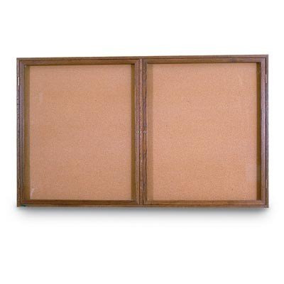 "60 x 36"" Double Door Illuminated Indoor Wood Enclosed Corkboard"
