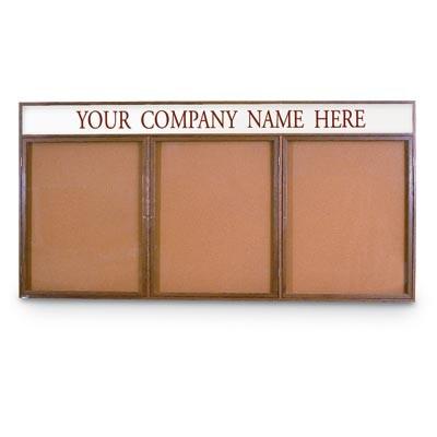 """72 x 48"""" Triple Door Illuminated w/ Header Indoor Wood Enclosed Corkboard"""