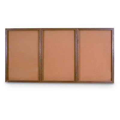 "72 x 36"" Triple Door Illuminated Indoor Wood Enclosed Corkboard"