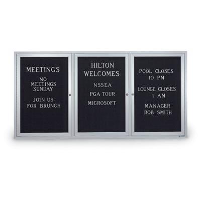 """72 x 36"""" Triple Door Standard Indoor Enclosed Letterboards"""