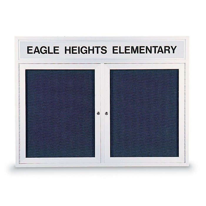 "48 x 36"" Double Door Indoor Enclosed Letterboard w/ Illuminated Header"