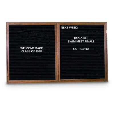 "60 x 48"" Illuminated Double Door Indoor Wood Enclosed Letterboard"