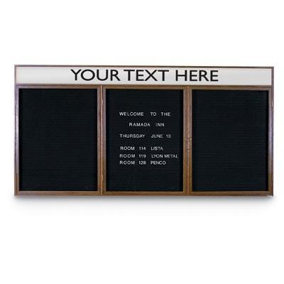 "72 x 36"" Triple Door Indoor Wood Enclosed Letterboard Illuminated w/ Header"
