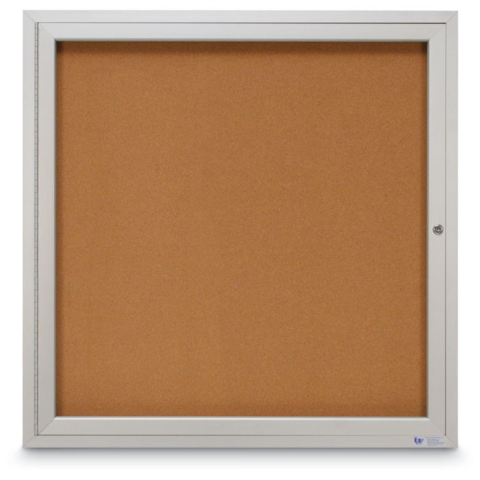 "36 x 36"" Single Door Illuminated Indoor Enclosed Corkboards"