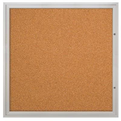 """48 x 48"""" Double Door Illuminated Indoor Enclosed Corkboards"""