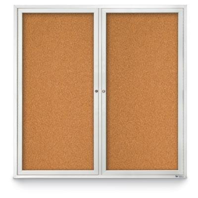 """48 x 48"""" Double Door Standard Indoor Enclosed Corkboards"""