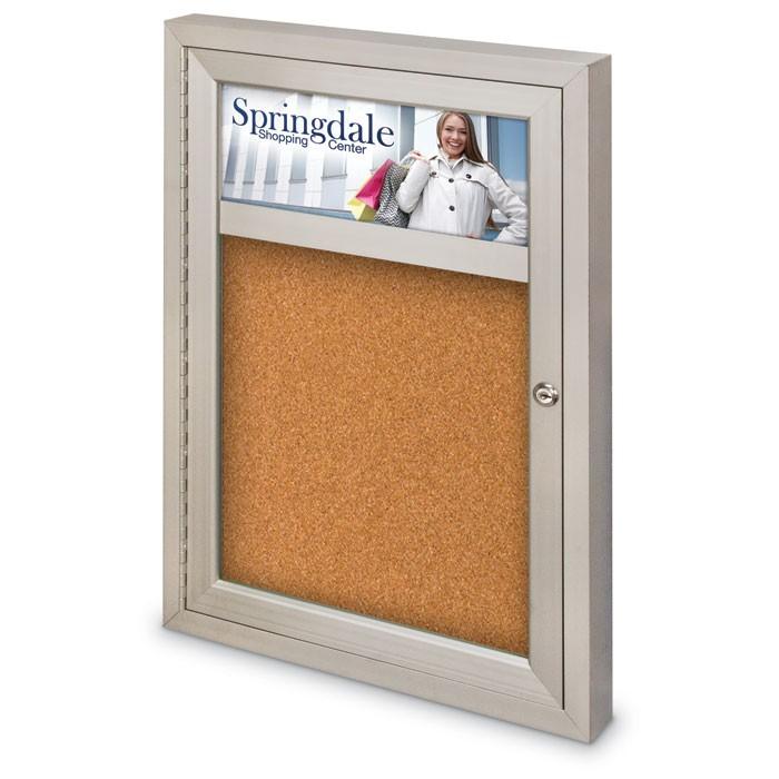 "18 x 24"" Single Door with illuminated Header Indoor Enclosed Corkboards"