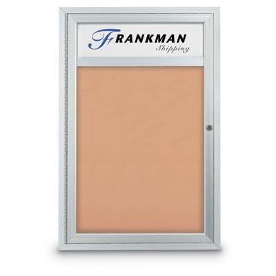 """24 x 36"""" Single Door with Header Indoor Enclosed Corkboards"""