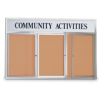 "72 x 48"" Triple Door with Illuminated Header Outdoor Enclosed Corkboards"