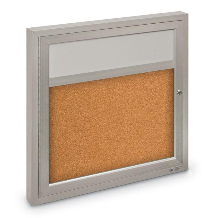 "36 x 36"" Single Door with illuminated Header Indoor Enclosed Corkboards"
