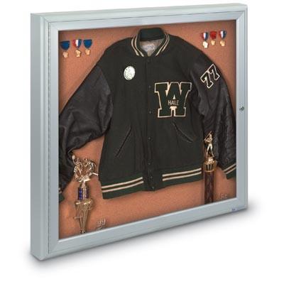 "48 x 36"" Single Door Standard 4"" Radius Frame Enclosed Corkboard"