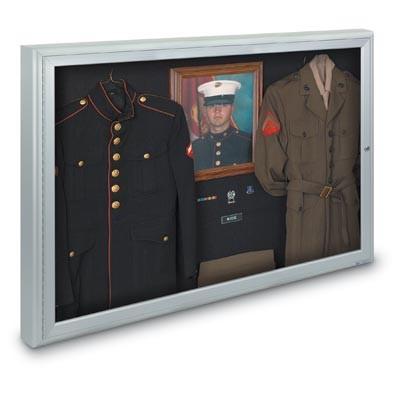 "48 x 36"" Single Door Illuminated 4"" Radius Frame Enclosed Corkboard"