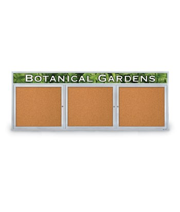 "96 x 36"" Triple Door with Illuminated Header Outdoor Enclosed Corkboards"