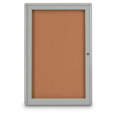 """18 x 24"""" Single Door Radius Corner- Indoor Enclosed Corkboard"""