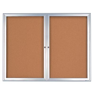 "60 x 36"" Double Door Radius Frame- Indoor Enclosed Corkboard"