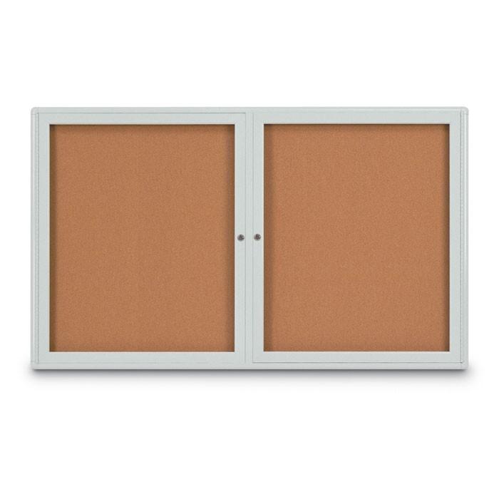 """60 x 36"""" Double Door Radius Corner- Indoor Enclosed Corkboard"""