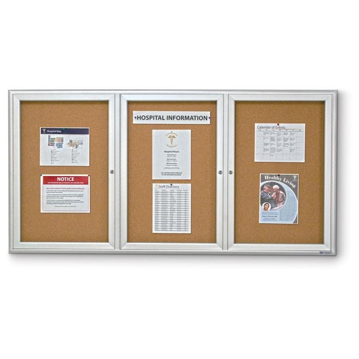 """72 x 48"""" Triple Door Radius Corner- Indoor Enclosed Corkboard"""