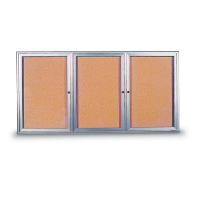 "96 x 48"" Triple Door Standard 4"" Radius Frame Enclosed Corkboard"