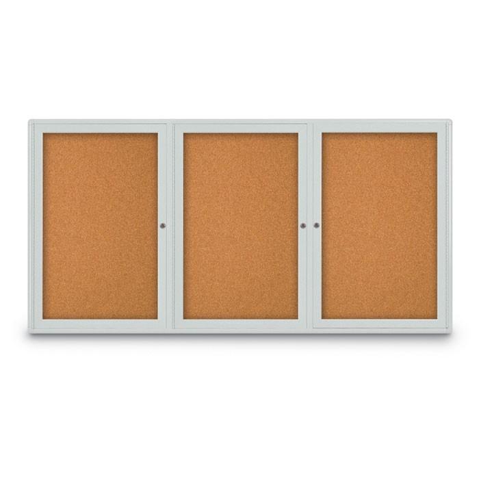 """72 x 36"""" Triple Door Radius Corner- Indoor Enclosed Corkboard"""