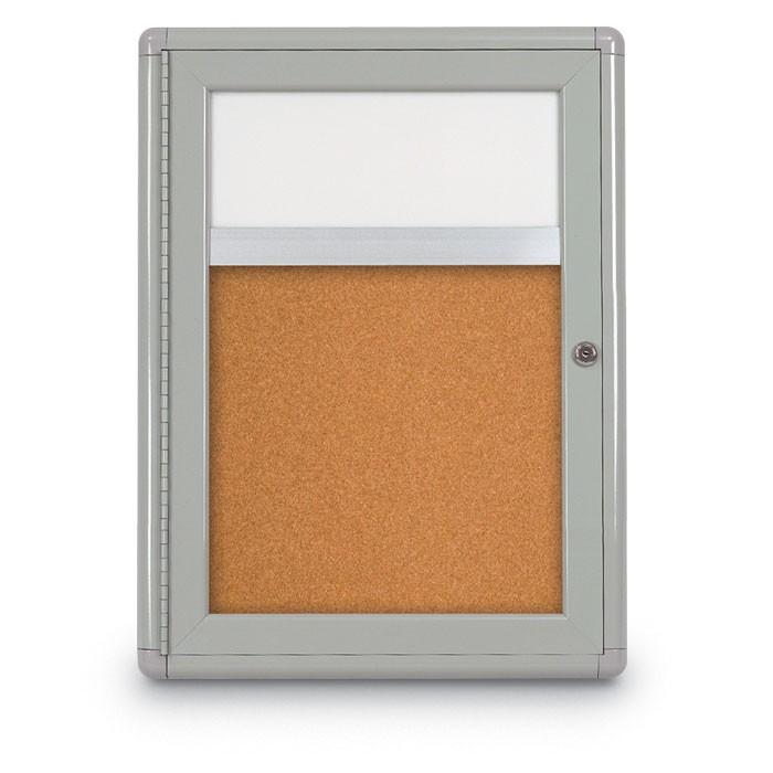 """18 x 24"""" Single Door Radius Corner w/ Header- Indoor Enclosed Corkboard"""