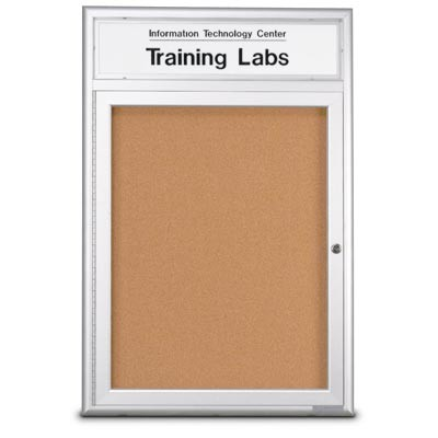 "18 x 24"" Single Door Radius Frame w/Header- Indoor Enclosed Corkboard"