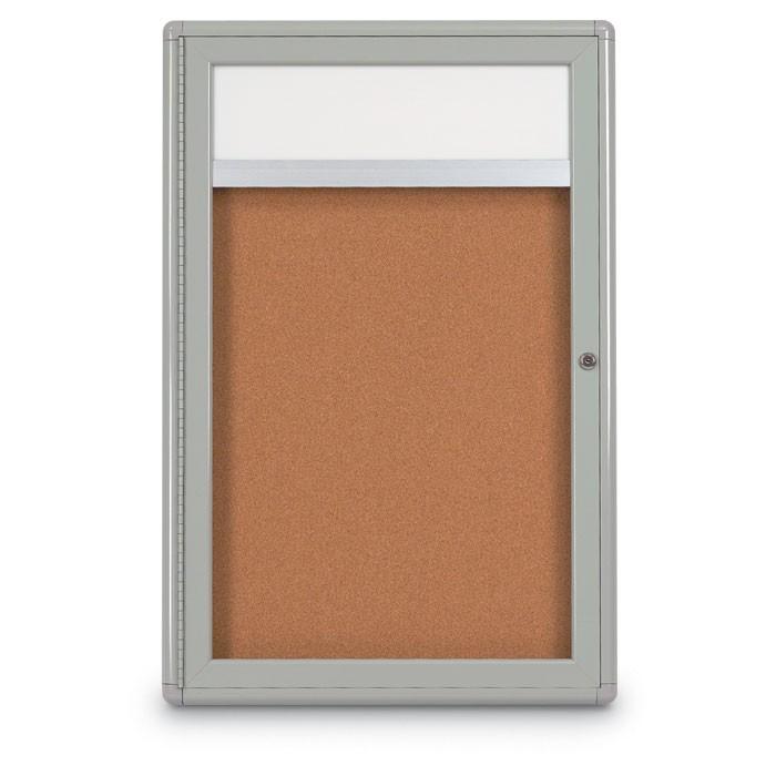 """24 x 36"""" Single Door Radius Corner w/ Header- Indoor Enclosed Corkboard"""