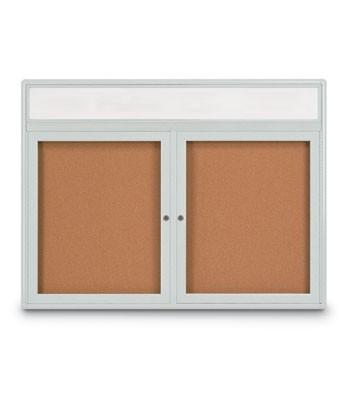 """42 x 32"""" Double Door Radius Corner w/ Header- Indoor Enclosed Corkboard"""
