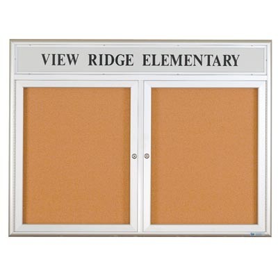 "96 x 48"" Triple Door w/ Illuminated Header 4"" Radius Frame Enclosed Corkboard"