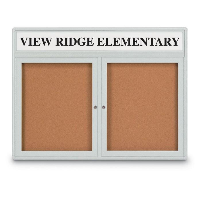 """48 x 36"""" Double Door Radius Corner w/ Header- Indoor Enclosed Corkboard"""