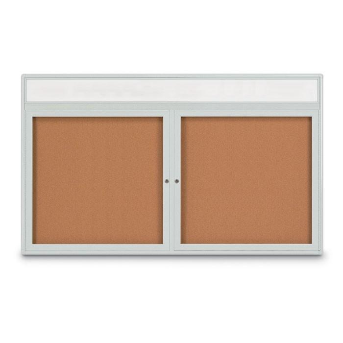 """60 x 36"""" Double Door Radius Corner w/ Header- Indoor Enclosed Corkboard"""