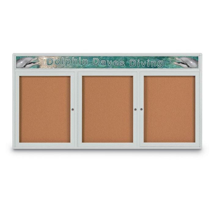 """72 x 36"""" Triple Door Radius Corner w/ Header- Indoor Enclosed Corkboard"""
