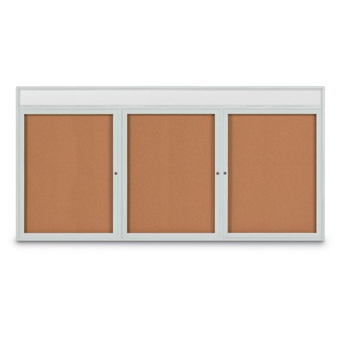 """96 x 48"""" Triple Door Radius Corner w/ Header- Indoor Enclosed Corkboard"""