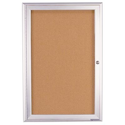 "24 x 36"" Single Door Radius Frame- Indoor Enclosed Corkboard"