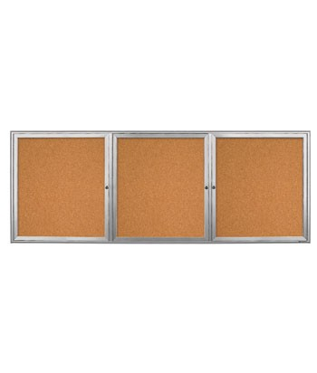 "96 x 36"" Triple Door Radius Frame w/ Header- Outdoor Enclosed Corkboard"