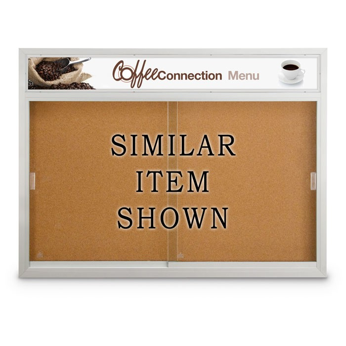 """60 x 36"""" Sliding Glass Door Corkboards with Traditional Frame w/ Illuminated Header"""
