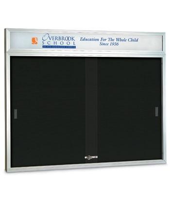 "48 x 36"" Sliding Glass Door Enclosed Letterboard W/ Header"