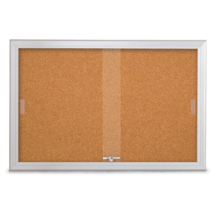 """36 x 24"""" Sliding Glass Corkboards with Radius Frame"""