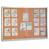 "72 x 36"" Sliding Glass Corkboards with Radius Frame"